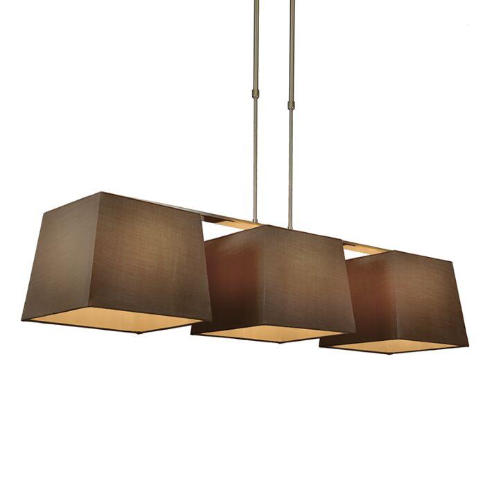 Lámpara-colgante-COMBI-Delux-3-pantallas-piramidales-30cm-marrón