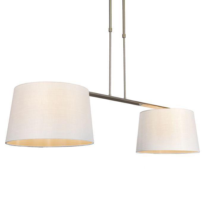 Lámpara-colgante-COMBI-Delux-2-pantallas-cónicas-40cm-blancas
