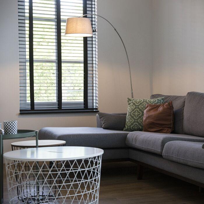 Lámpara-de-arco-moderna-acero-pantalla-tela-blanca---ARC-BASIC-