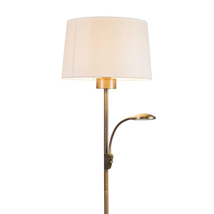 Lámpara-de-pie-TRENTO-Combi-bronce-con-pantalla
