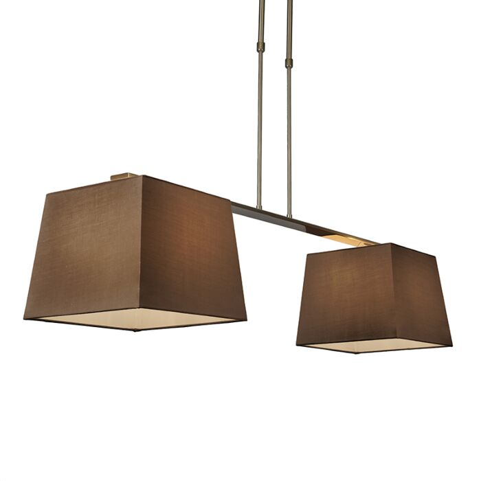 Lámpara-colgante-COMBI-Delux-2-pantallas-piramidales-30cm-marrón