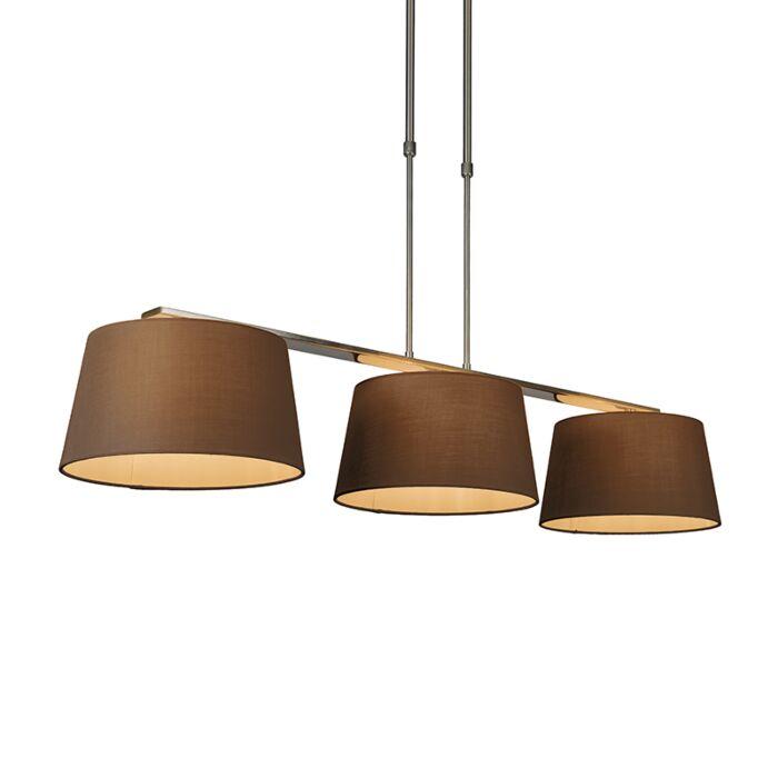 Lámpara-colgante-COMBI-Delux-3-pantallas-cónicas-30cm-marrón