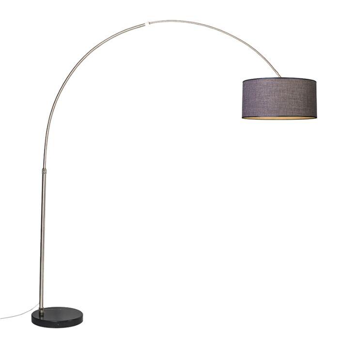 Lámpara-de-arco-XXL-acero-pantalla-50cm-cilíndrica-marrón-gris
