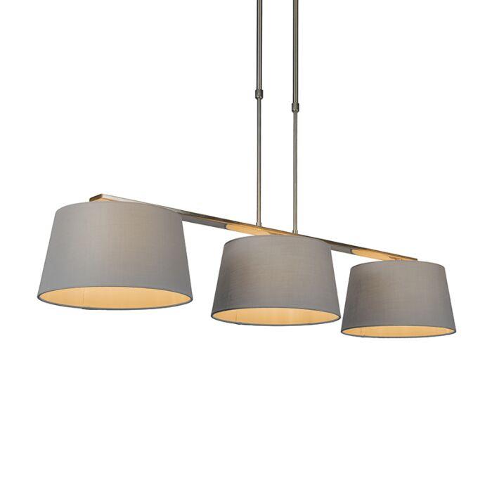Lámpara-colgante-COMBI-Delux-3-pantallas-cónicas-30cm-gris