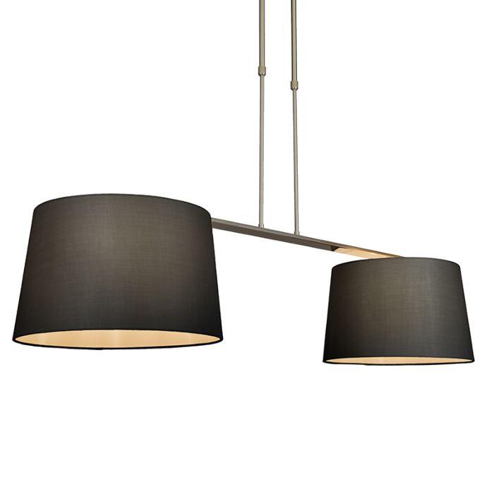 Lámpara-colgante-COMBI-Delux-2-pantallas-cónicas-40cm-negras
