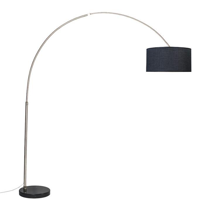 Lámpara-de-arco-acero-pantalla-negra-50cm---XXL