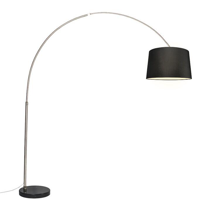 Lámpara-de-arco-acero-pantalla-negra-45cm---XXL