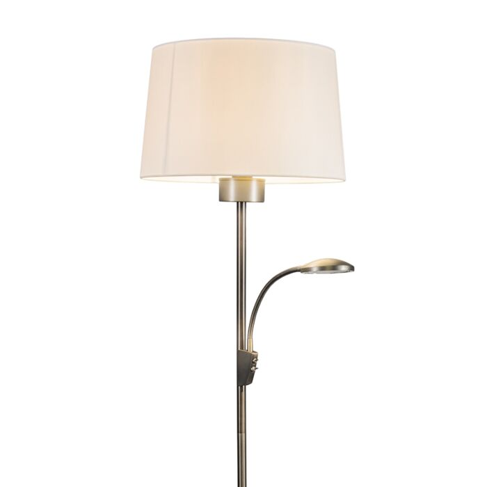 Lámpara-de-pie-TRENTO-Combi-acero-con-pantalla
