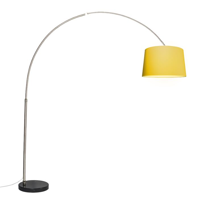 Lámpara-de-arco-XXL-acero-pantalla-50cm-cónica-amarilla