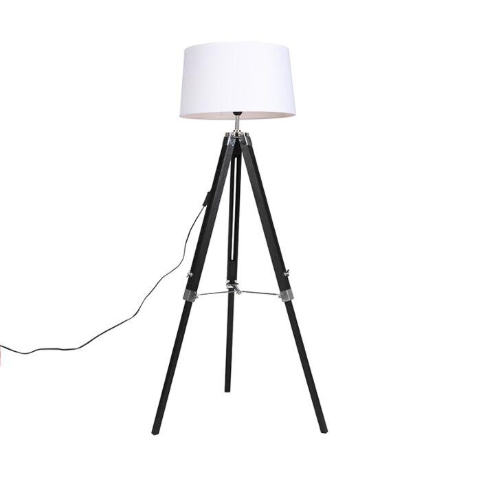 Lámpara-de-pie-negra-pantalla-lino-blanco-45-cm---TRIPOD