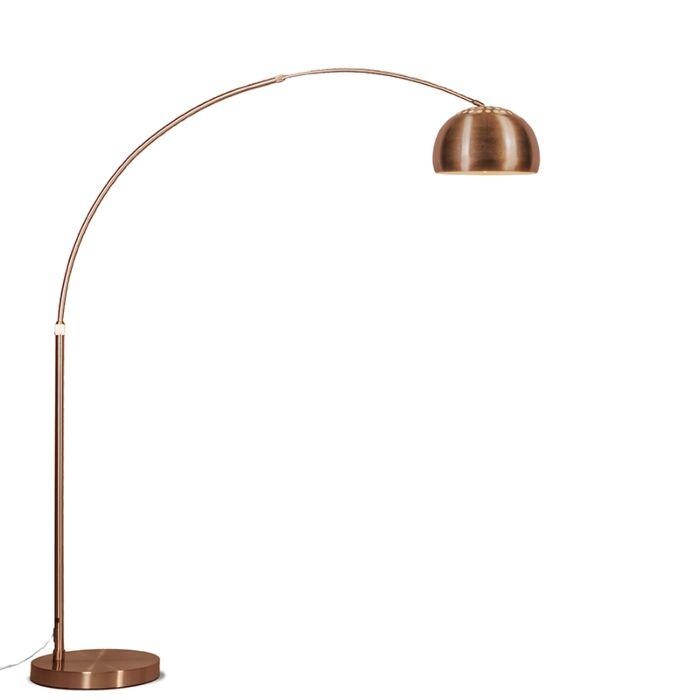 Lámpara-de-arco-XXL-cobre-pantalla-cobre-mate