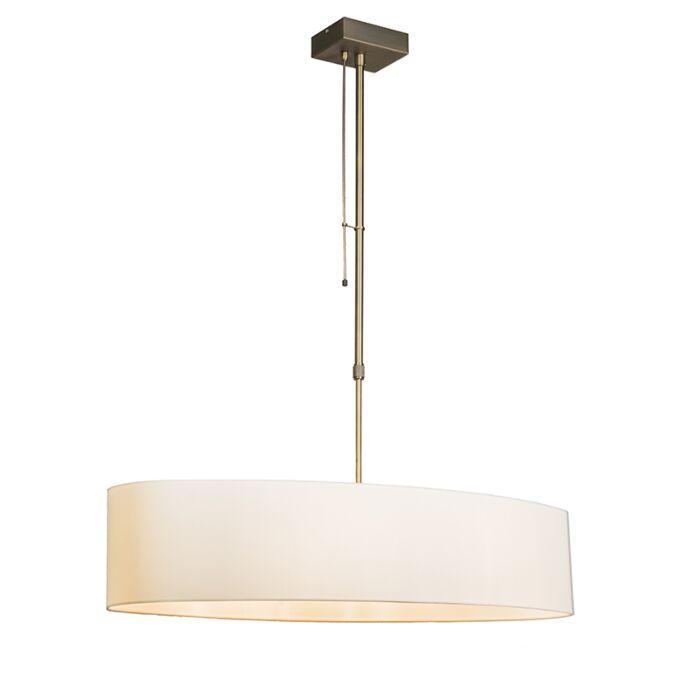 Lámpara-colgante-MIX-2-bronce-con-regulador-pantalla-ovalada-crema