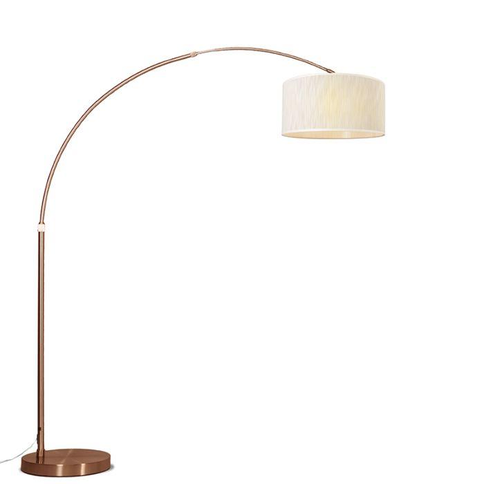 Lámpara-de-arco-XXL-cobre-pantalla-mezcla-de-marrones-claros