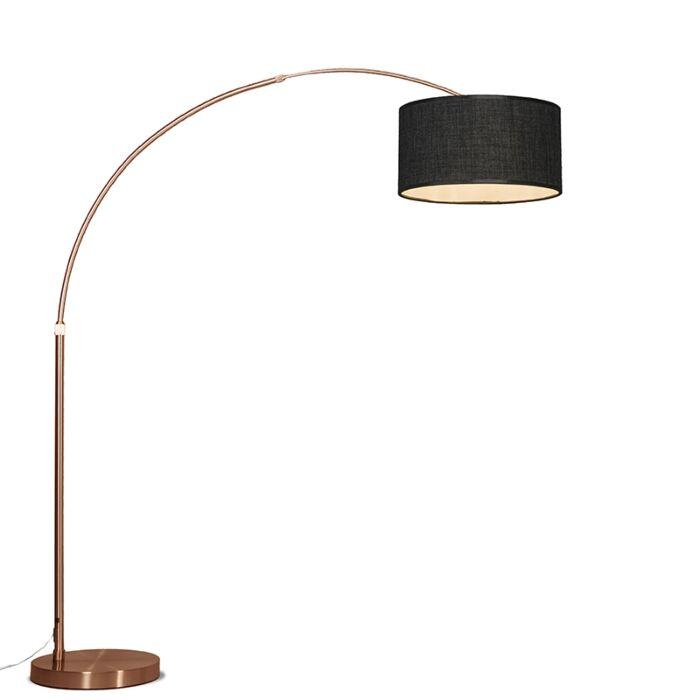 Lámpara-de-arco-XXL-cobre-con-pantalla-cilíndrica-gris-oscuro
