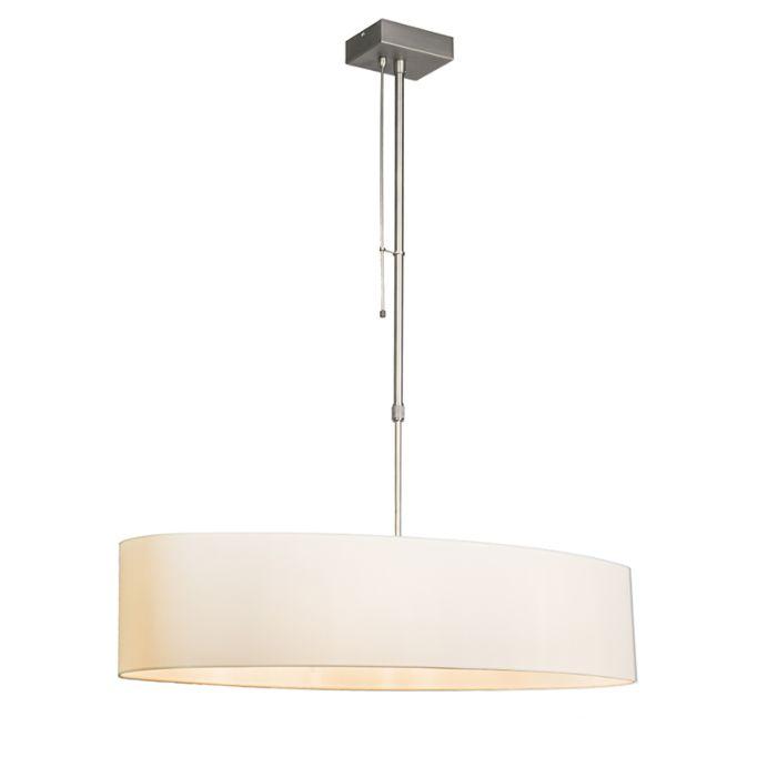 Lámpara-colgante-MIX-2-acero-con-regulador-pantalla-ovalada-crema