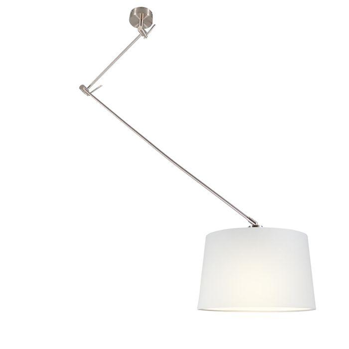 Lámpara-colgante-BLITZ-acero-con-pantalla-40cm-blanca
