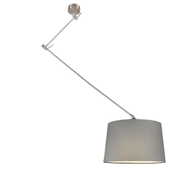 Lámpara-colgante-BLITZ-acero-con-pantalla-40cm-gris