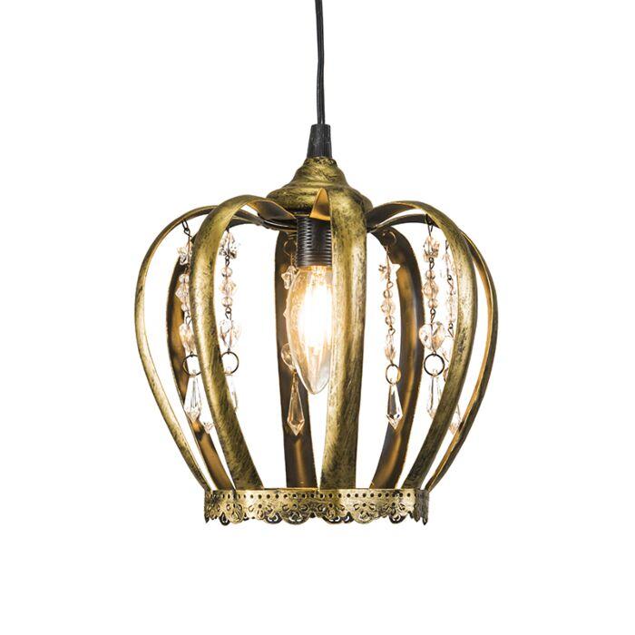 Lámpara-colgante-CROWN-dorado-envejecido