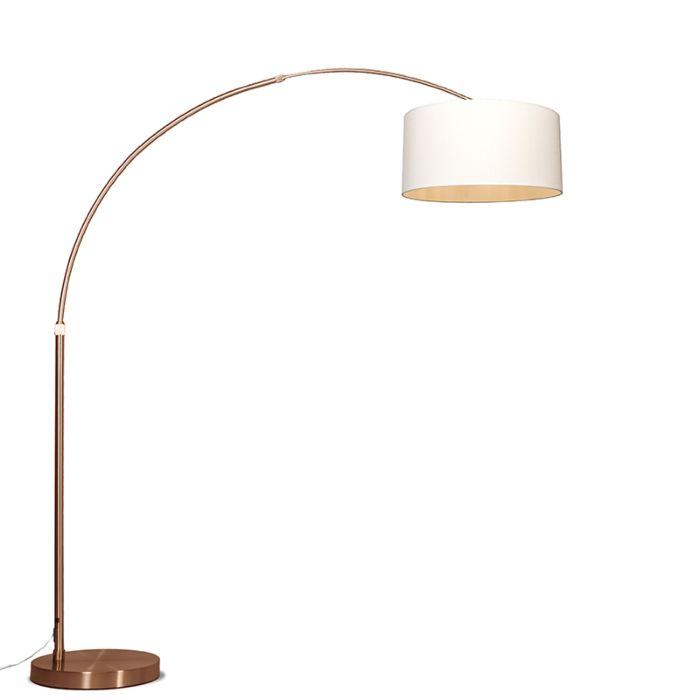 Lámpara-de-arco-XXL-cobre-con-pantalla-cilíndrica-crema