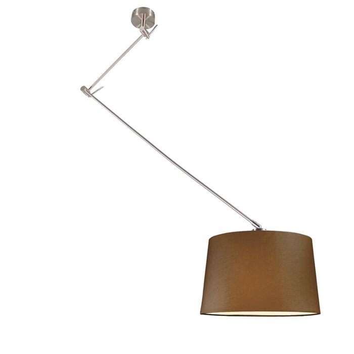 Lámpara-colgante-BLITZ-acero-con-pantalla-40cm-marrón