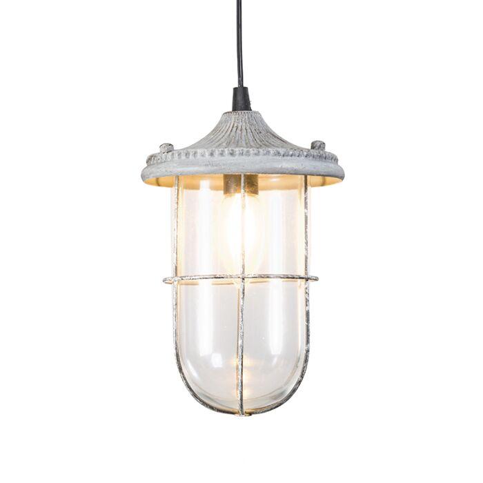Lámpara-colgante-vintage-blanco-envejecido-cristal---PORTO