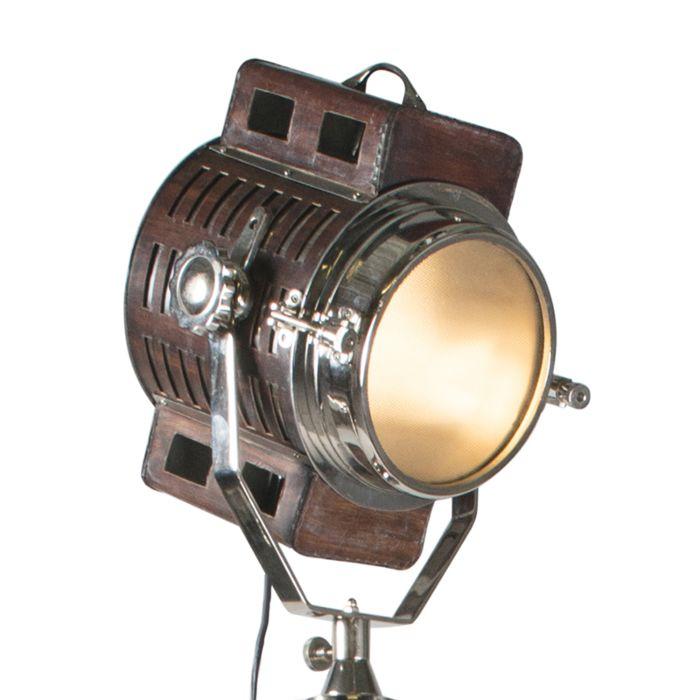 Lámpara-de-pie-Spot-Camera-cuero-con-cromo