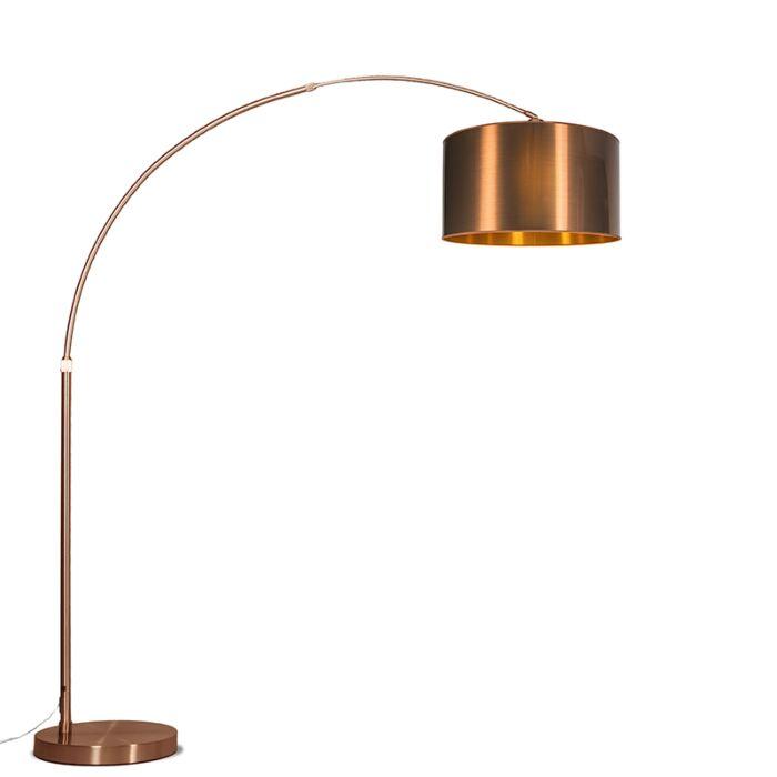 Lámpara-de-arco-XXL-cobre-con-pantalla-cobre-cilíndrica