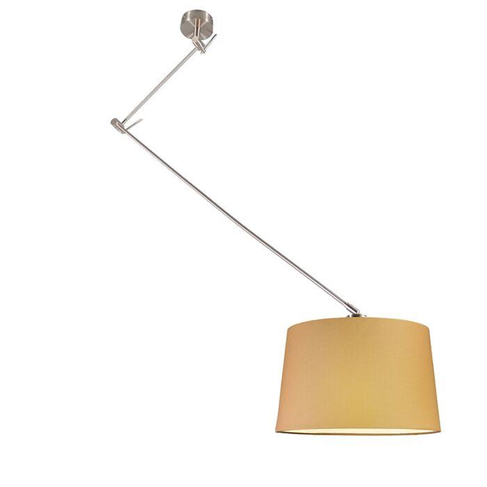 Lámpara-colgante-BLITZ-acero-con-pantalla-40cm-beige