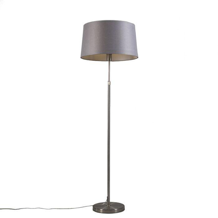 Lámpara-de-pie-acero-pantalla-gris-45cm-ajustable---PARTE