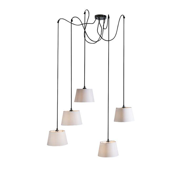 Lámpara-colgante-CAVA-5-negra-con-pantallas-blancas