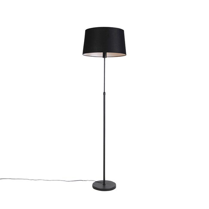 Lámpara-de-pie-negra-con-pantalla-de-lino-negro-45cm-ajustable---Parte