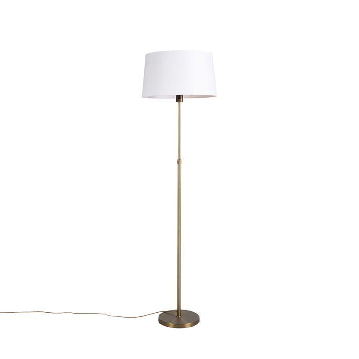 Lámpara-de-pie-bronce-pantalla-lino-blanco-45cm-ajustable---PARTE