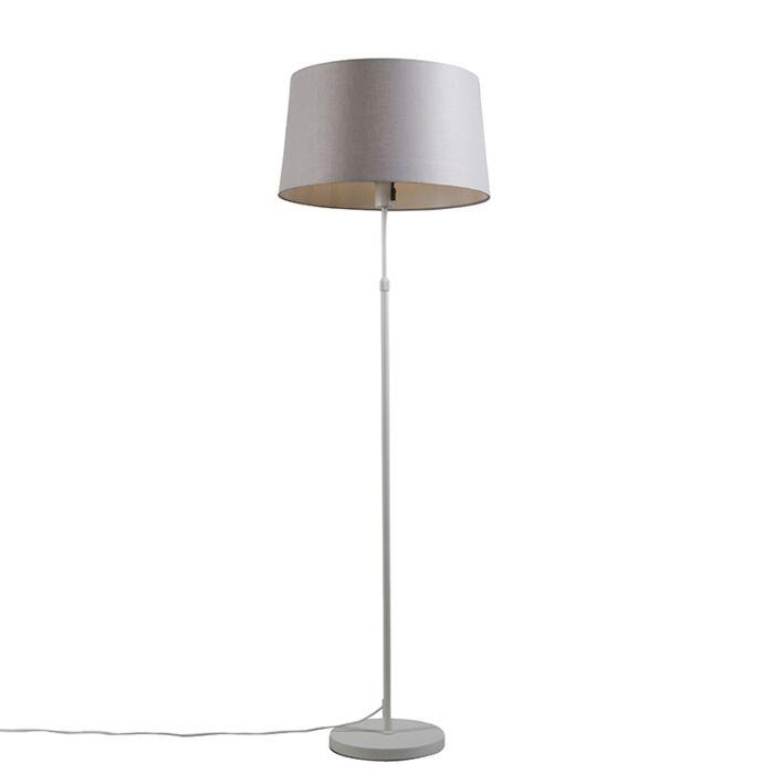 Lámpara-de-pie-blanca-con-pantalla-gris-claro-45-cm-ajustable---Parte