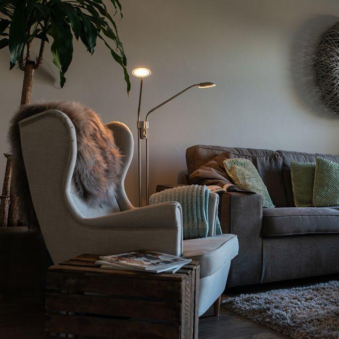 Lámpara-de-pie-moderna-acero-LED-2-luces---EVA