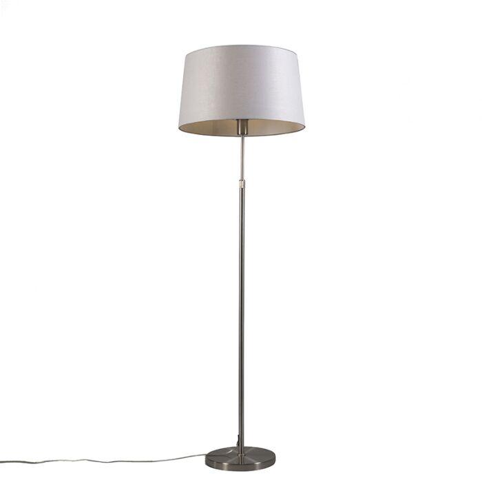 Lámpara-de-pie-acero-con-pantalla-gris-claro-45-cm-ajustable---Parte