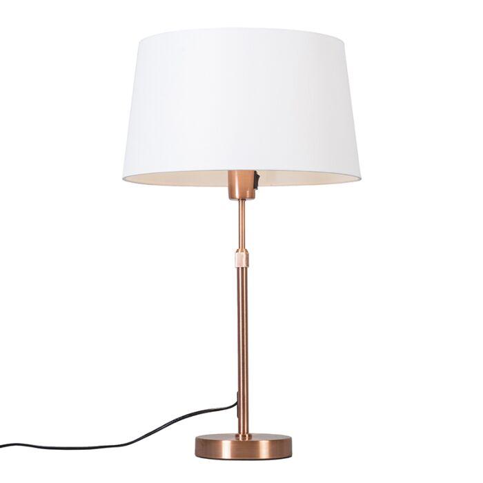 Lámpara-de-mesa-cobre-pantalla-blanca-35cm-ajustable---PARTE
