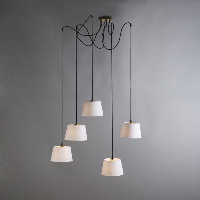 Lámpara-colgante-CAVA-5-oro-con-pantallas-blancas