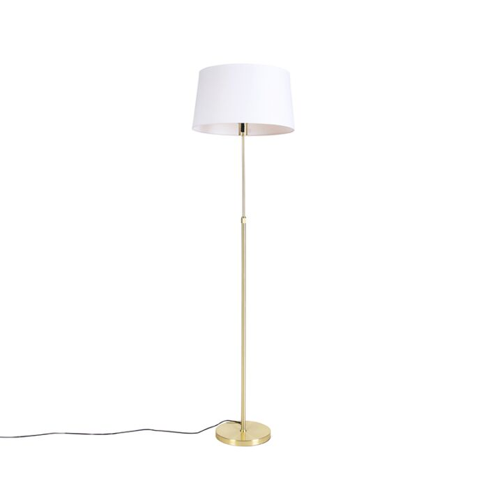 Lámpara-de-pie-oro/latón-pantalla-lino-blanco-45cm---PARTE
