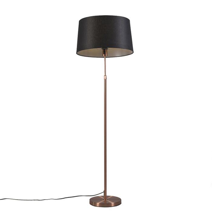 Lámpara-de-pie-de-cobre-con-pantalla-negra-de-45-cm-ajustable---Parte