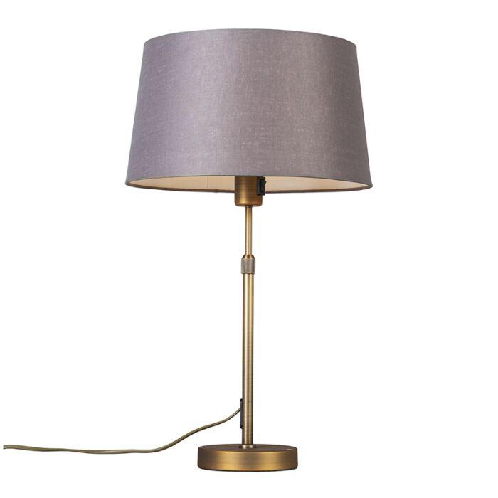 Lámpara-de-mesa-bronce-con-pantalla-marrón-/-gris-35-cm-ajustable---Parte