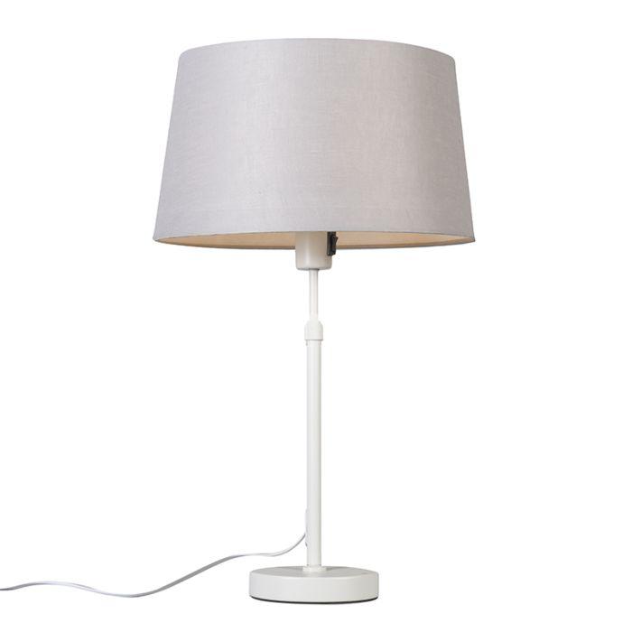 Lámpara-de-mesa-blanca-con-pantalla-gris-claro-35-cm-ajustable---Parte