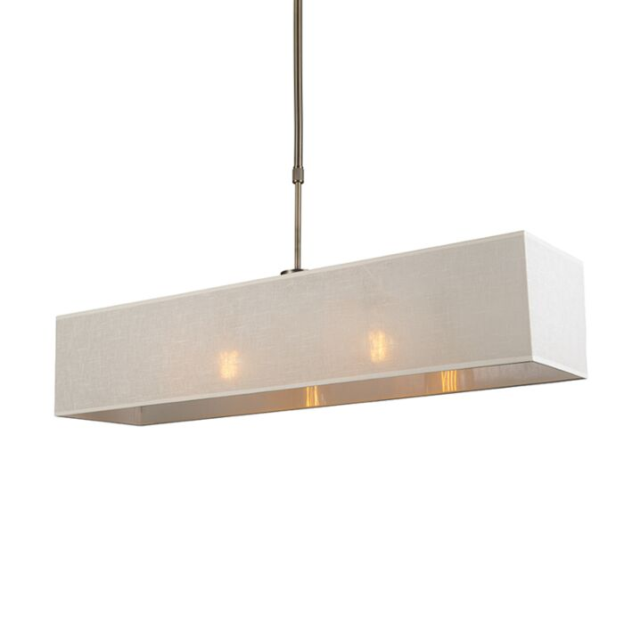 Lámpara-colgante-MIX-2-bronce-con-pantalla-alargada-crema