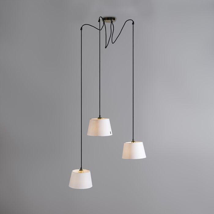 Lámpara-colgante-CAVA-3-oro-con-pantallas-blancas