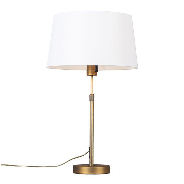 Lámpara-de-mesa-bronce-pantalla-blanca-35cm-ajustable---PARTE