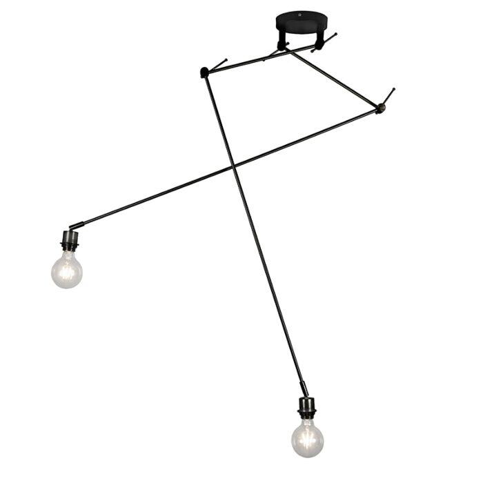 Lámpara-colgante-moderna-descentrada-negra-sin-pantalla---BLITZ-II