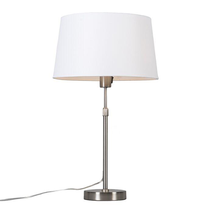 Lámpara-de-mesa-acero-pantalla-blanca-35cm-ajustable---PARTE