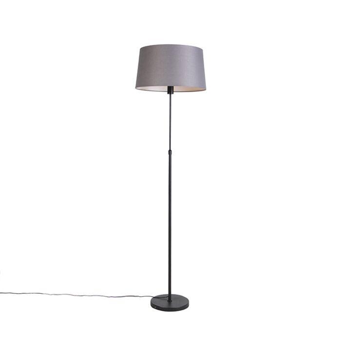 Lámpara-de-pie-negra-con-pantalla-de-lino-gris-oscuro-45-cm---Parte