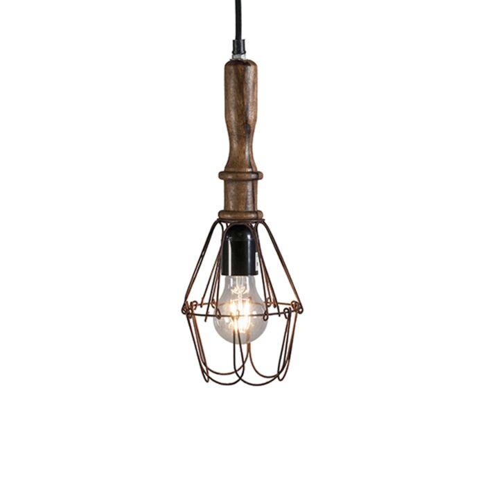 Lámpara-colgante-retro-madera-acero---DARIO