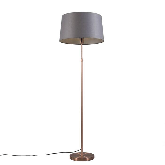 Lámpara-de-pie-de-cobre-con-pantalla-gris-45-cm-ajustable---Parte