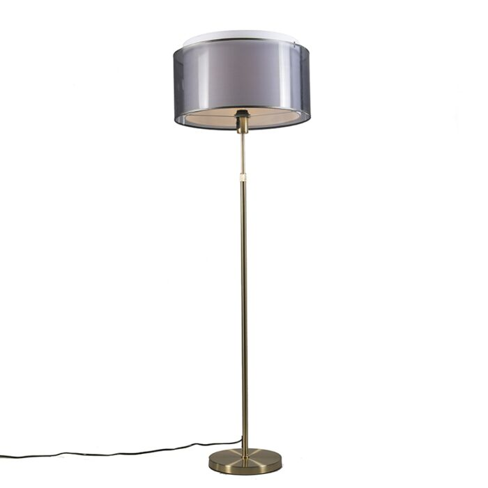 Lámpara-de-pie-dorado/latón-pantalla-negra/blanca-47cm---PARTE